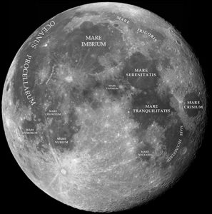 Near side of the Moon, showing Basins